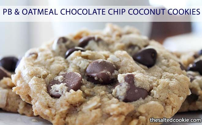 Peant Butter and Oatmeal Chocolate Chip Coconut Cookies from The Salted Cookie