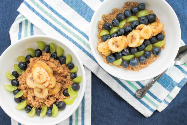The Salted Cookie Quinoa Blueberry Banana and Grape Breakfast Bowl