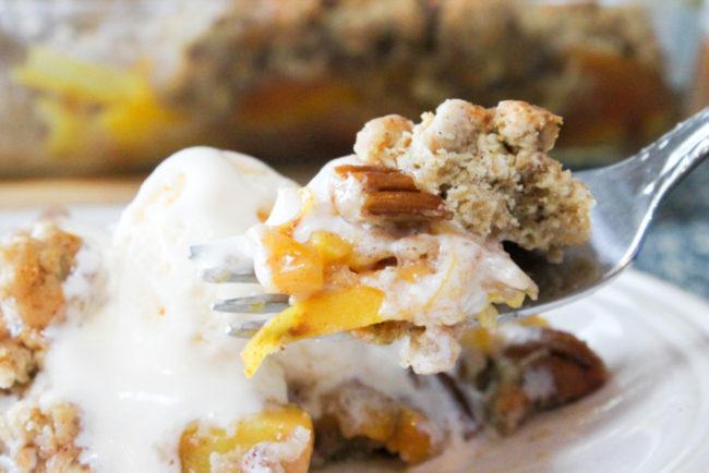 Gluten Free Peach Pecan Cobbler