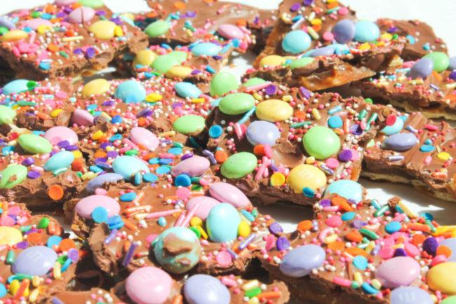 Springtime Chocolate Toffee Bark
