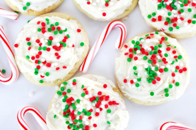 Peppermint Frosted Sugar Cookies